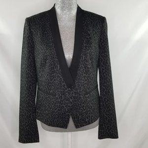 Loft Black Leopard Print Single Button Blazer